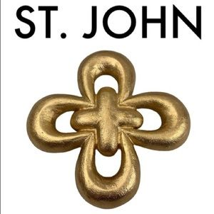ST. JOHN BRUSHED GOLD LARGE BROOCH